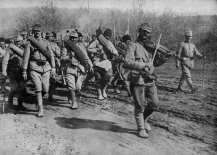 WWI, First World War. Romanian allies. The Romanian Army goes to the front of the sound of the violin. 1917