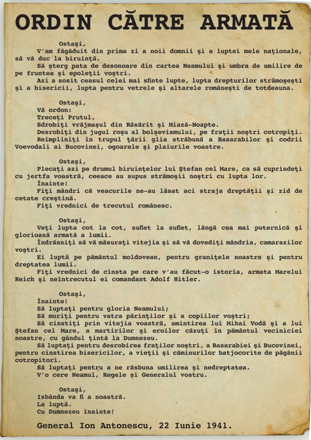 Fieldmarshal Ion Antonescu 's order to the Romanian armies to cross the Prut river and destroy the bolshies.
