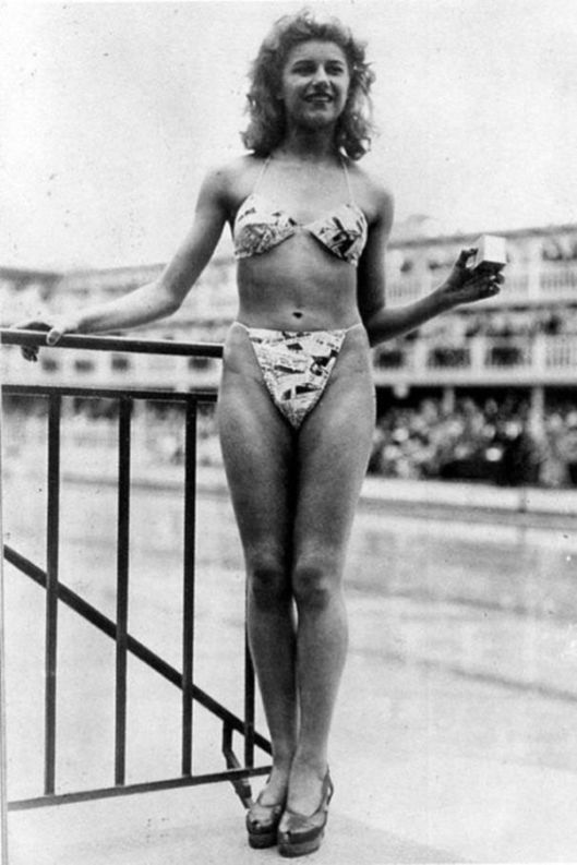 First woman wearing a modern bikini