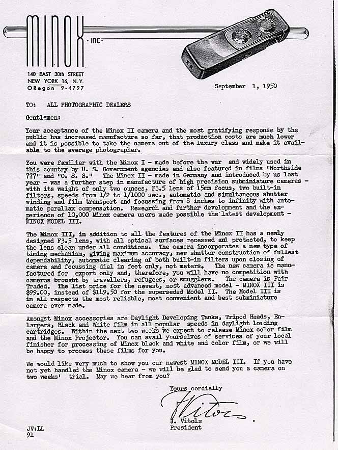 Letter announcing Minox III in the US - 01 sept. 1950